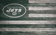 """New York Jets 11"""" x 19"""" Distressed Flag Sign"""