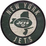 """New York Jets 12"""" Circle with State Sign"""