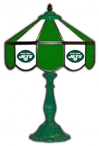 """New York Jets 21"""" Glass Table Lamp"""