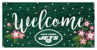 """New York Jets 6"""" x 12"""" Floral Welcome Sign"""