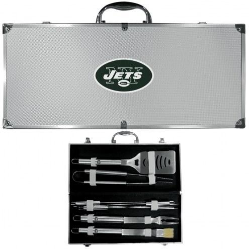 New York Jets 8 Piece Stainless Steel BBQ Set w/Metal Case