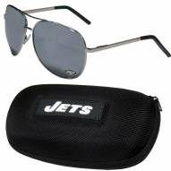 New York Jets Aviator Sunglasses and Zippered Carrying Case