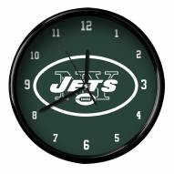 New York Jets Black Rim Clock