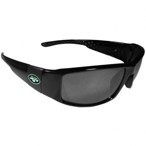 New York Jets Black Wrap Sunglasses