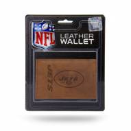 New York Jets Brown Leather Trifold Wallet