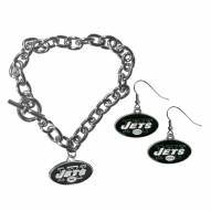 New York Jets Chain Bracelet & Dangle Earring Set