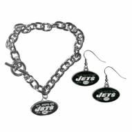 New York Jets Chain Bracelet & Dangle Earring Set