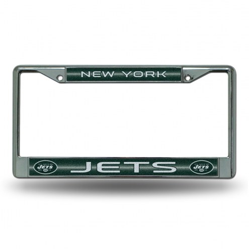 New York Jets Chrome Glitter License Plate Frame