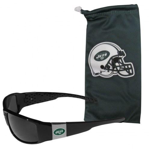 New York Jets Chrome Wrap Sunglasses & Bag