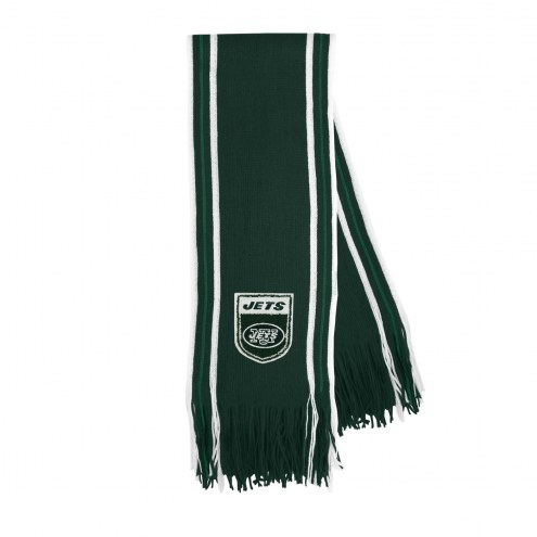 New York Jets Crest Stripe Fringe Scarf