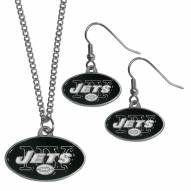 New York Jets Dangle Earrings & Chain Necklace Set