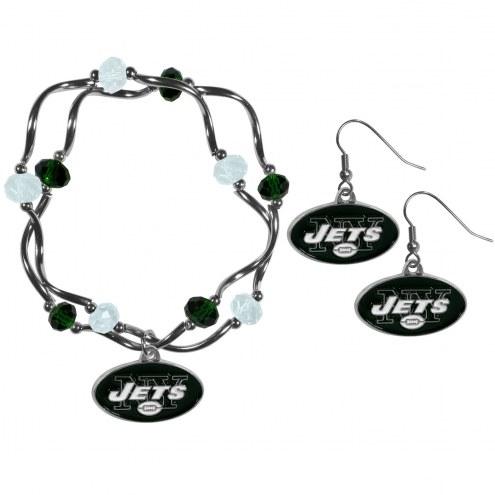 New York Jets Dangle Earrings & Crystal Bead Bracelet Set