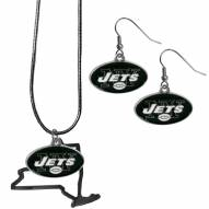 New York Jets Dangle Earrings & State Necklace Set