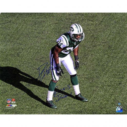 "New York Jets Darrelle Revis Stance Metallic w/ ""Revis Island"" Signed 16"" x 20"" Photo"
