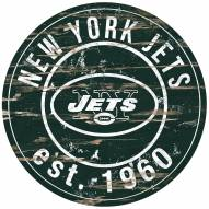 New York Jets Distressed Round Sign