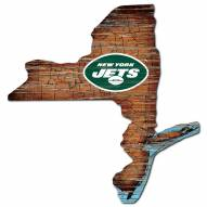 New York Jets Distressed State with Logo Sign