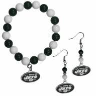 New York Jets Fan Bead Earrings & Bracelet Set