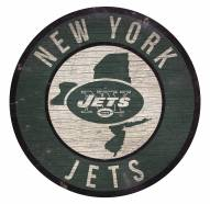 New York Jets Round State Wood Sign