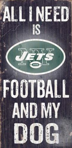 New York Jets Football & Dog Wood Sign