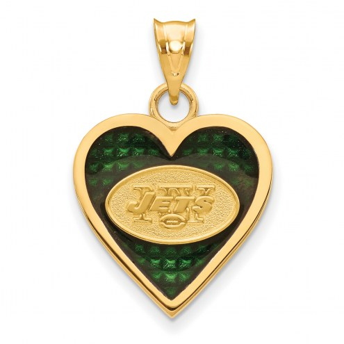 New York Jets Gold Plated Enameled Heart Pendant