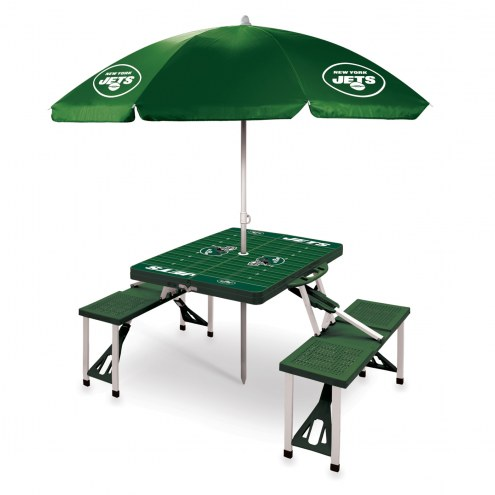 New York Jets Green Picnic Table w/Umbrella