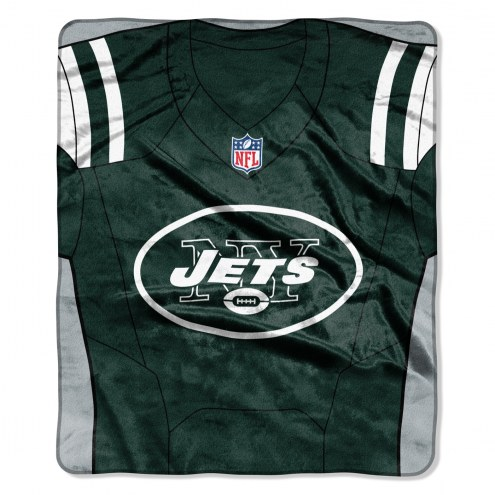 New York Jets Jersey Raschel Throw Blanket