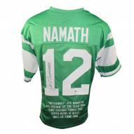 New York Jets Joe Namath Signed Green Custom Jersey with Embroidered Stats