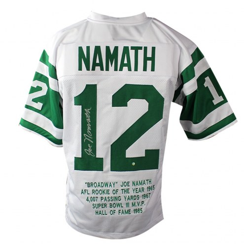 New York Jets Joe Namath Signed White Custom Jersey with Embroidered Stats