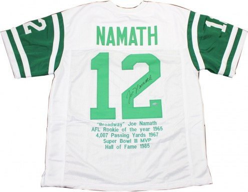 New York Jets Joe Namath Signed White Jersey w/ Stats Embroidered