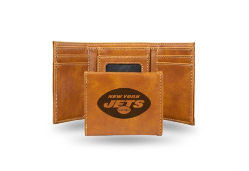 New York Jets Laser Engraved Brown Trifold Wallet