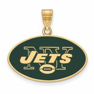 New York Jets Sterling Silver Gold Plated Large Pendant
