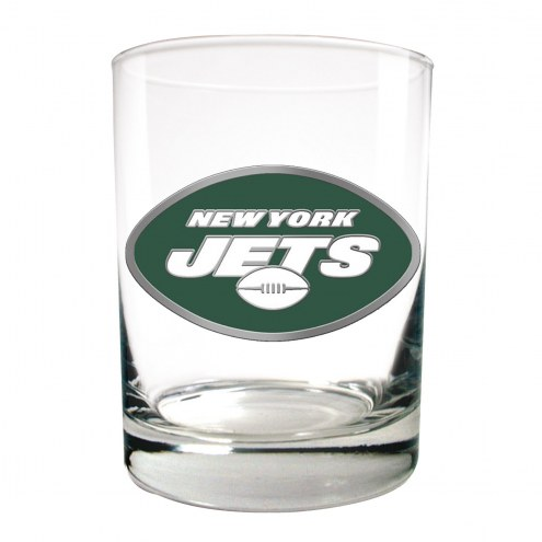 New York Jets Logo Rocks Glass - Set of 2