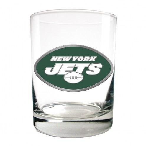 New York Jets Logo Rocks Glass - Set of 2