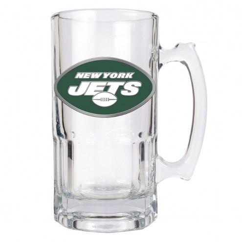 New York Jets NFL 1 Liter Glass Macho Mug