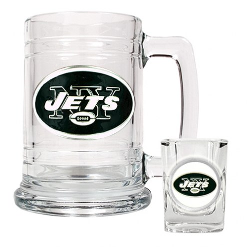 New York Jets NFL Boilermaker Set - Shot Glass & Tankard Mug