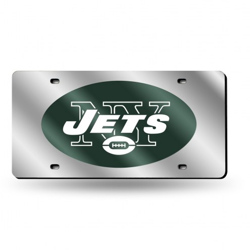 New York Jets NFL Silver Laser License Plate