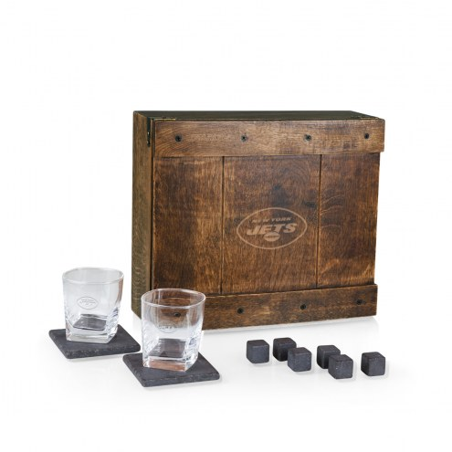 New York Jets Oak Whiskey Box Gift Set