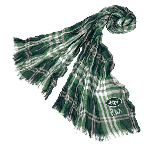 New York Jets Plaid Crinkle Scarf