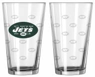 New York Jets Satin Etch Pint Glass - Set of 2