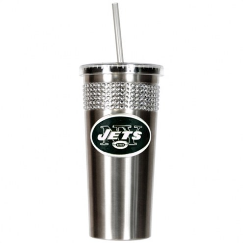 New York Jets Stainless Steel Bling Tumbler with Straw