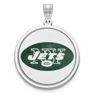 New York Jets Sterling Silver Disc Pendant