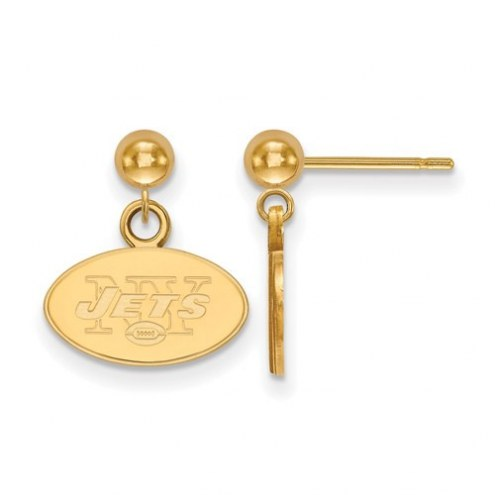 New York Jets Sterling Silver Gold Plated Dangle Ball Earrings