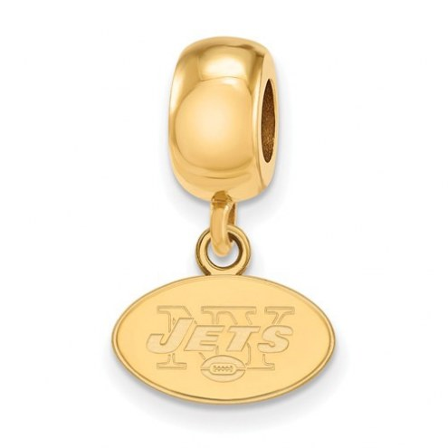 New York Jets Sterling Silver Gold Plated Extra Small Dangle Bead Charm