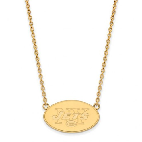 New York Jets Sterling Silver Gold Plated Large Pendant with Necklace