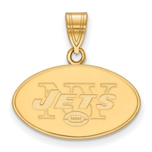 New York Jets Sterling Silver Gold Plated Medium Pendant