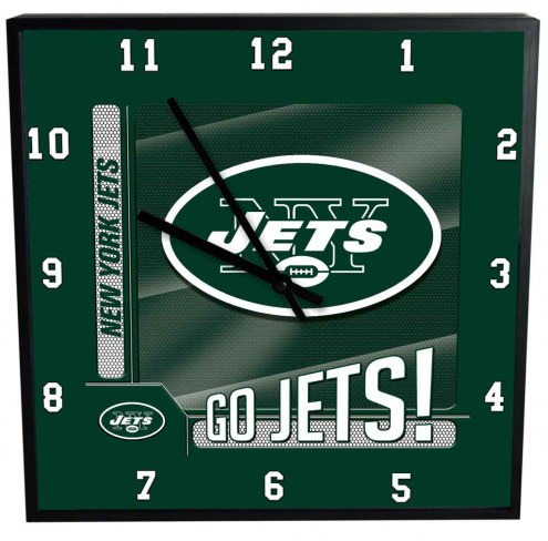 New York Jets Team Black Square Clock