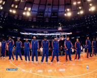 New York Knick Lining Up For The National Anthem From Front 16 x 20 Photo