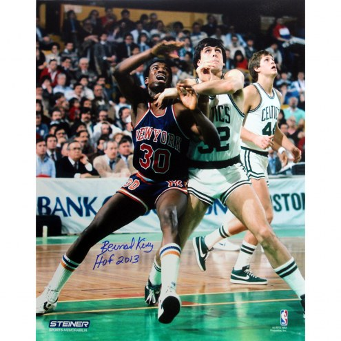 "New York Knicks Bernard King boxing out McHale w/ HOF Signed 16"" x 20"" Photo"