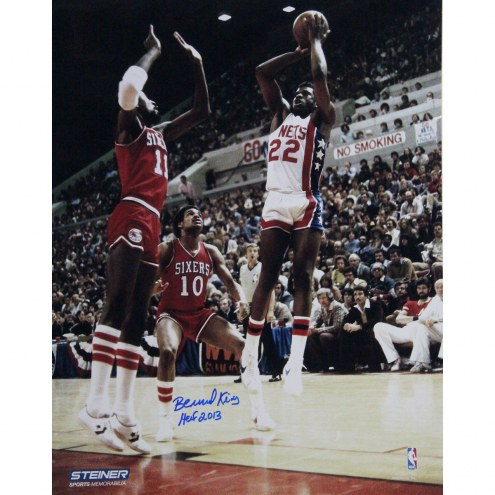 "New York Knicks Bernard King Jumper over Cheeks and Jones w/ HOF Signed 16"" x 20"" Photo"