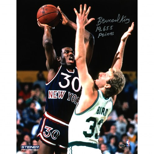 "New York Knicks Bernard King vs. Larry Bird w/ 19,655 Pts. Signed 16"" x 20"" Photo"